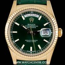 Rolex 18k Yellow Gold Green Baton Dial Day-Date B&P 118138