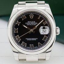 Rolex 116200 Datejust Black Roman Dial / Oyster Bracelet (25928)