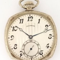 Illinois Art Deco Open Facev Pocket Watch 14K Gold Filled