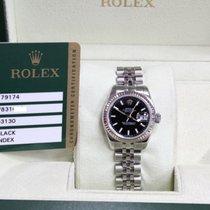 Rolex Datejust 179174 Steel & 18K WG Black Index Dial Box...
