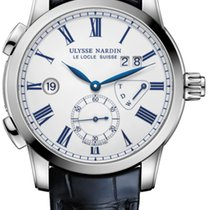 Ulysse Nardin CLASSIC DUAL TIME Steel Case Dial White Dark...