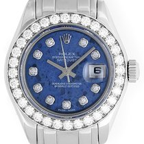 Rolex Ladies 18k White Gold Pearlmaster Watch 80299 Sodalite...