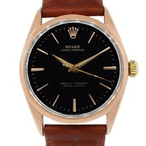 Rolex 1025  Rose Gold Shell Oyster Perpetual Leather Watch