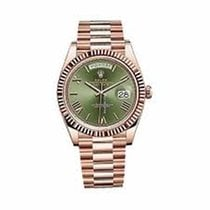 Rolex Day-Date 18ct Everose Gold 40mm Olive Green Roman 228235
