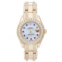 Rolex Ladies Masterpiece/Pearlmaster Gold Diamond Watch 80298