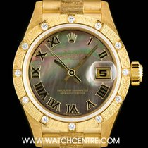 Rolex 18k Y/G Black Mother Of Pearl Dial Datejust NOS Ladies...