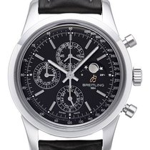 Breitling Transocean Chronograph 1461 Lederband Schwarz