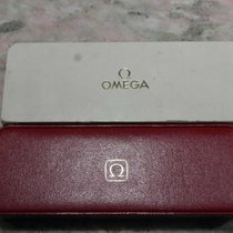 Omega vintage watch box leather red logo