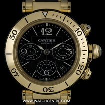Cartier 18k Y/G Black Dial Pasha Seatimer Chronograph B&P...