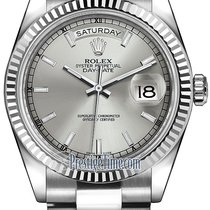 Ρολεξ (Rolex) Day-Date 36mm White Gold Fluted Bezel 118239...