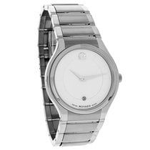 Movado Quadro Mens White Stainless Steel Swiss Quartz Watch...