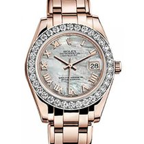 Rolex Pearlmaster 34 81285 White Mother of Pearl Roman Diamond...
