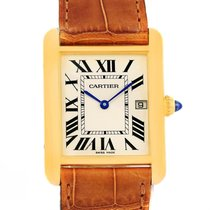 Cartier Tank Louis 18k Yellow Gold Brown Strap Date Watch...