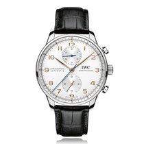 IWC Schaffhausen Portugieser Chronograph Silver Dial Mens...