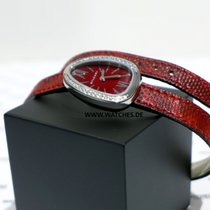 Bulgari Serpenti in steel with red lacquered dial and diamonds...
