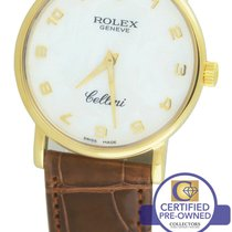 Rolex Cellini Classic MOP Arabic 18K Yellow Gold Black 5115 32mm