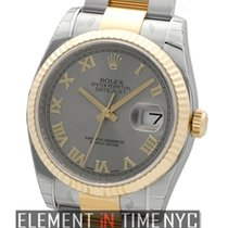 Rolex Datejust Steel & Yellow Gold Slate Roman Dial Oyster...