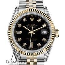 Rolex Classic Black Rolex 36mm Datejust 18k Gold & Steel...