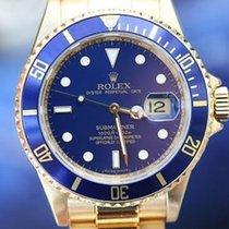 Rolex Mens Watch Submariner 18k Gold 16619 Box Warranty Card...