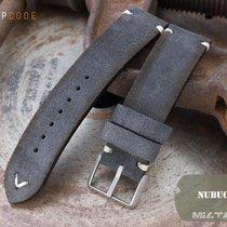 MiLTAT 21mm Dark Grey Nubuck Watch Strap, Beige St. BL