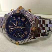 Breitling Crosswind Gold Steel Pilotband Blue Roman Dial 43 mm...