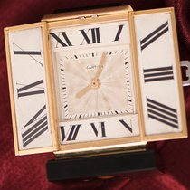 Cartier 1920s Art Deco Platinum Diamond Enamel Gold Shutter CLOCK