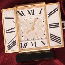 Cartier 1920s Art Deco Platinum Diamond Enamel Gold Shutter CLOCK