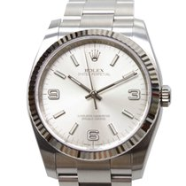 Rolex Oyster Perpetual White Gold And Steel Silver Automatic...