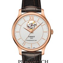 Tissot Tradition Automatic Open Heart Plated Rose Case Silver...