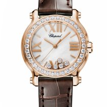 Chopard Happy Sport Mini 18K Rose Gold & Diamonds Ladies...