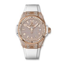 Hublot Big Bang One Click King Gold White Full Pave 39mm Ref...