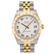 Rolex Lady-Datejust 31 White Roman Dial Diamond Bezel Jubilee