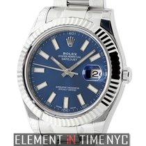 Rolex Datejust II Steel & White Gold 41mm Blue Index Dial