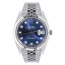 Rolex Datejust 41 Steel & White Gold Blue Diamond Dial...