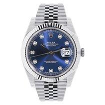 Rolex Datejust 41 Steel & White Gold Blue Diamond Dial...