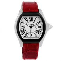 Cartier Roadster S Silver Dial Red Strap Steel Unisex Watch...