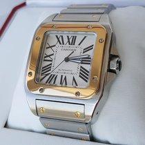 Cartier Jumbo Santos 100 XL Steel Gold Bracelet AS NEW unpolished