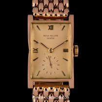 Patek Philippe 18k R/G Silvery Rose Dial Curved Glass Vintage...