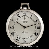 Rolex 18k W/G Silver Roman Dial Cellini Pendant Pocket Watch 3717