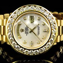 Rolex 18k Yellow Gold Mens Large Diamond Solid Rolex President...