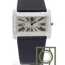 Cartier Tank Divan 18K white gold diamond alligator WA301370 NEW