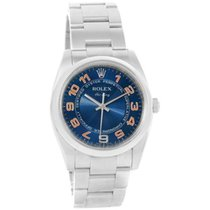 Rolex Air-King Heavy Band Model 114200 Smooth Bezel with Blue...