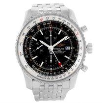 Breitling Navitimer World Gmt Black Dial Steel Bracelet Watch...