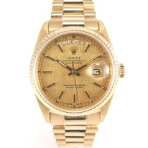 "Rolex Day-date 18038 yellow gold ""linen"" dial"