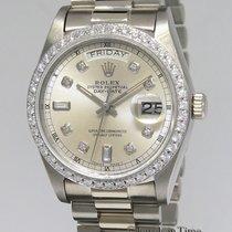 Rolex Day-Date President 18k White Gold Diamond Dial/Bezel...