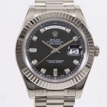 Rolex Day-Date II President 18K Solid White Gold Diamonds