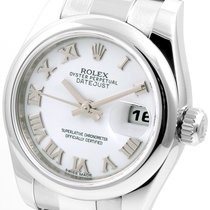 Rolex SS Ladies 26mm Datejust White Roman Dial Oyster Band 179174