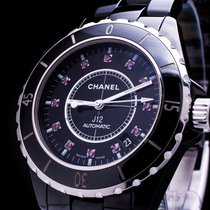 Chanel J12 Automatic 38mm Black Ceramic Lady Date Ruby Dial...