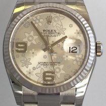 Rolex Datejust 36mm Stahl/Weißgold Oyster Armband Floral ZB.