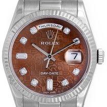 Rolex President Day-Date Men's 18k White Gold Watch Havana...